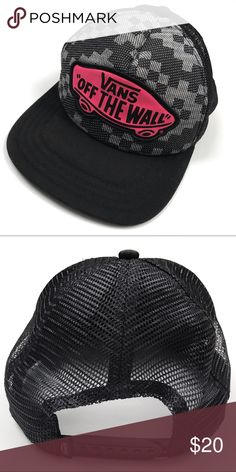 245f5aca83f RARE Vans Beach Girl Truckers Hat W Pink Logo RARE Vans Beach Girl Truckers  Hat W Pink Logo Black Grey Check Pattern with Hot Pink Skateboard  emblazoned ...
