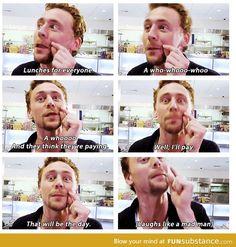 Tom Hiddleston playing pranks. #Loki'd