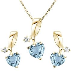 Pretty Jewellery 14K Yellow Gold Fn S925 Heart Cut Aquamarine White Diamond Heart Pendant Earring Set >>> Check this awesome product by going to the link at the image.(This is an Amazon affiliate link)