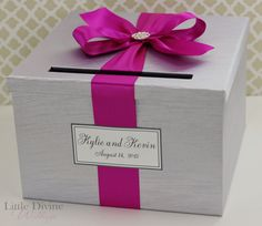 Wedding Card Box Silver and Fest Fuchsia Money by LittleDivine