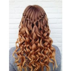 Simple Waterfall Braid & Curls (Hair and Beauty Tutorials) ❤ liked on Polyvore featuring hair and hairstyles