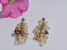 Genuine Gemstone and Cluster Pearl Earrings in Silver-Women-Gift-Affordable Jewelry-Pierced Earrings-Silver-Cream-Genuine Pearl-Handmade by JensJemsWV on Etsy
