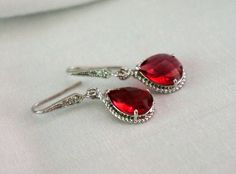 Ruby Earrings Crystal Teardrop Bridal Earrings by PoetryBridal, $23.50