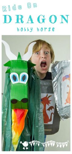 Make a Dragon Hobby Horse for fun imaginative play. Great for St George's Day, World Book Day or any day your little knights want to fly! A recycled craft.