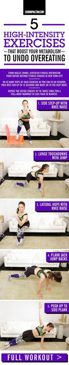 EXERCISES TO BOOST METABOLISM AFTER OVEREATING: The best way to undo overeating is to get back on track with a workout that makes you S-W-E-A-T. The morning after eating a massive meal, don't beat yourself up. Just perform this circuit, designed by Kailee Combs, certified fitness instructor from Refine Method, a high-intensity training studio in New York City. Click through for the full workout, instructional gifs that teach you how to do each move, and for more fitness tips.