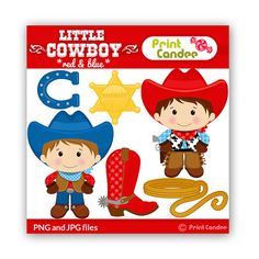 Little Cowboy (Red & Blue) - BUY 2 GET 1 FREE - Digital Clip Art - Personal and Commercial Use -horse shoe, boot, sheriff badge, rope Cowboy Birthday Party, Cowboy Party, Birthday Party Themes, Birthday Banners, Used Horse Shoes, Shower Bebe, Baby Shower, Sheriff Badge, Red Cake