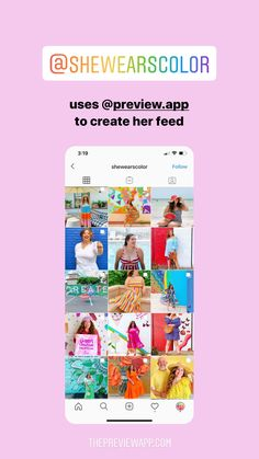 Click here to download Preview App too! @shewearscolor is using Preview App to create her mega colorful Instagram feed theme. #instagramfeed #instagraminspiration #instagramfeedideas #instagramtips #instagramthemes Instagram Preview App, Instagram Feed Planner, Instagram Bio, Instagram Accounts, Hashtag Finder, Trending Hashtags, Bright Color Schemes, Instagram Marketing Tips, Layout Inspiration