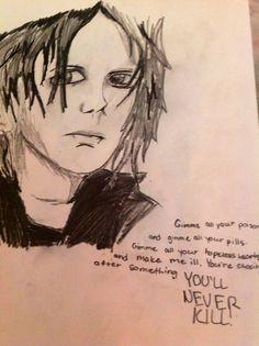 A drawing of Gerard Way.