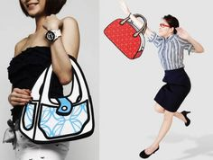 These are real purses made to look like drawings that you can buy, very cool!