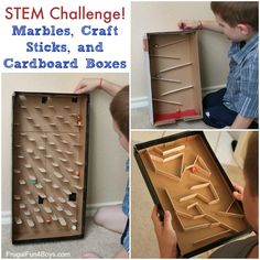 STEM Challenge: Marbles, Craft Sticks, and Cardboard Boxes - Frugal Fun For Boys and Girls Craft Stick Crafts, Craft Sticks, Diy Crafts For Kids, Cardboard Box Crafts, Cardboard Toys, Stem Projects, Projects For Kids, Boys And Girls Club, Boy Or Girl