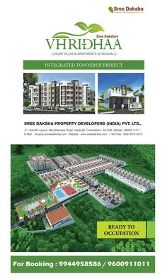 Sree Daksha's VHRIDHAA - The view is spectacular. You can see the Western Ghats in the distance as the project is right at its foothills. Coimbatore, Property Development, Built Environment, Safety Tips, Luxury Villa, Simple Living, Distance, Construction, Luxury Condo