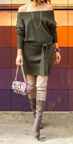 Fall Outfits To Inspire You · Shoulderless Dress // Knee Length Boots // Printed Shoulder Bag Casual Fall Outfits, Fall Winter Outfits, New Outfits, Chic Outfits, Autumn Winter Fashion, Summer Outfits, Fashion Outfits, Summer Dresses, Summer Fashion Trends