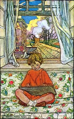 The BOOK OF THE LITTLE PAST, Frontis (1908) by Elizabeth SHIPPEN GREEN (Artist. USA, 1871-1954).     J. P. Peabody (Author).   Houghton Mifflin Co (Publisher). Pretty Day, Spring, Open Window, Child, Reading, Book,