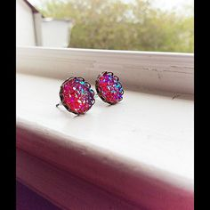 Handmade post earrings Beautiful ruby red faux Druzy earrings. 12mm in size Nameless Creations Jewelry Earrings