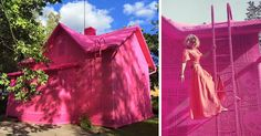 Polish Artist Covers A 100-Year-Old House In Finland With Pink Crochet | Bored…