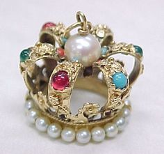 Vintage 14K Yellow Gold Charmed Crown with Plentiful Pearl's, and Cabochon Cut Jewels Placed Appropriatly Such as Rubies, Turquoise, Emerald's, Coral, Sapphire's & Citrine, 1950's.