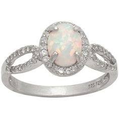Sterling Silver Lab-Created Opal and Lab-Created White Sapphire Halo... ($100) ❤ liked on Polyvore featuring jewelry, rings, opal ring, white opal ring, white sapphire ring, sterling silver rings and oval ring