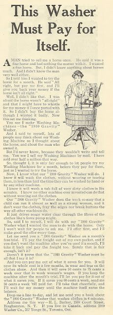 1915 ad: This Washer Must Pay for Itself