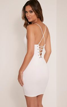 Cream Plunge Bodycon Dress Enhance your curves and work lust-worthy style in this plunge front d...