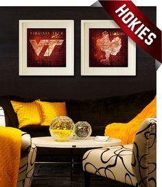 Proudly display your Virginia Tech Hokies team with these (2) vintage city maps. Also featured are the lyrics to your teams Fight song