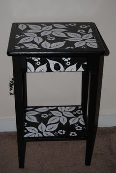 Upcycled table restyled with Decoupage and made with Mod Podge and scrapbook paper. & this is actually our bedside table Decoupage Table, Decoupage Furniture, Hand Painted Furniture, Repurposed Furniture, Table Furniture, Home Furniture, Paint Furniture, Furniture Inspiration, Furniture Makeover