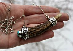 Nicole Dumontier moth + metal Real naturally shed white tail deer antler necklace. solid .925 sterling silver. Blue diamond mine turquoise cabochon