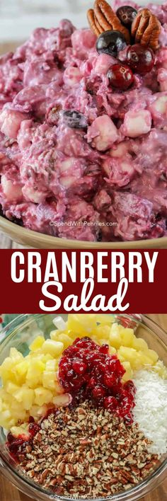This Millionaire Cranberry Salad is the perfect side for any turkey dinner! A delicious mixture of fresh homemade cranberry sauce combined with pecans, coconut, marshmallows and pineapple. Cranberry Salad, Cranberry Recipes, Thanksgiving Recipes, Holiday Recipes, Thanksgiving Baking, Congealed Salad, Dessert Salads, Jello Salads, Cooking Recipes