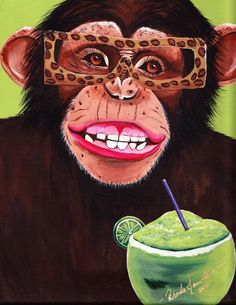 Monkey art! Monkey Art, Monkey Business, Barrels, Monkeys, Painted Rocks, Candid, Creative, Photography, Painting