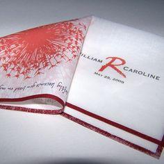 Personalized wedding handkerchief with dandelion