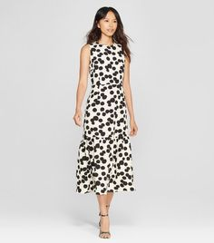 59e4df9bb4d  35 Who What Wear Polka Dot Sleeveless Ruffle Midi Dress Target Who What  Wear
