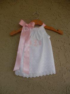 Monograma ojete funda vestido blanco - tamaños 6m - 5T - perfecto para dama, fotos de la playa y bautizos