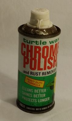 Vintage TURTLE WAX Can - CHROME POLISH and RUST REMOVER - 1983 - NO Cap #TurtleWax