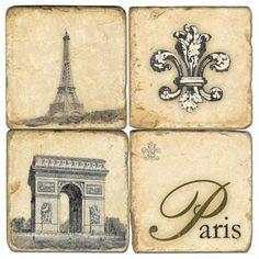 Retro Paris Marble Coasters