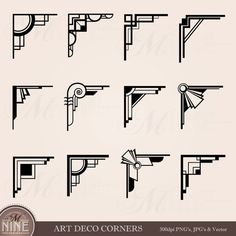 ART DECO hoeken Clipart digitale illustraties, Instant Download, Vintage Design elementen antieke grenzen Clip Art zwart silhouet