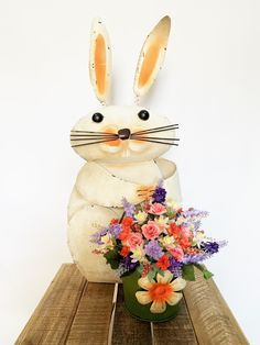 Large Tin Rustic Bunny with Spring/Easter Floral Arrangement Artificial Floral Arrangements, Artificial Flowers, Tin Buckets, Floral Foam, Large Flowers, My Design, Shabby Chic, Bunny, Easter