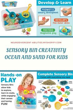 SENSORY BIN CREATIVITY OCEAN AND SAND FOR KIDS