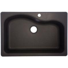 Zoomed: Franke USA Graphite 1-Hole Single-Basin Composite Granite Kitchen Sink $298 Lowe's