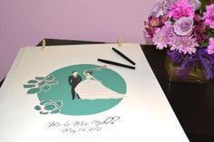 Modern Chic Wedding Guestbook, first anniversary gift for her, paper anniversary gift idea, unique wedding guestbook