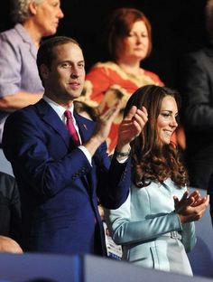 Prince William and Kate Middleton at the 2012 Olympics opening ceremony