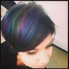 """Iridescent -- I'm usually pretty lukewarm about """"unnatural"""" colors of hair dye, but that is absolutely beautiful."""