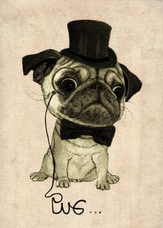Pug (gentle pug). Art Print