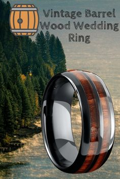 I finally found a mens unique wedding ring. Vintage Barrel Wood Wedding Ring. Crafted out of high tech ceramic and inlaid with genuine koa wood.