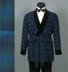 Vintage 1950 Mens Smoking Jacket -- Pendleton Blue Plaid Smoking Tuxedo Jacket - Wool and Velvet Dinner Jacket 42 44 Best Mens Leather Jackets, Velvet Dinner Jacket, Smoking Jacket, Modern Wardrobe, Tuxedo Jacket, Blue Plaid, Wrap Style, Menswear, Men's Leather