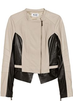ALICE by Temperley | Adelaide two-tone leather biker jacket | NET-A-PORTER.COM