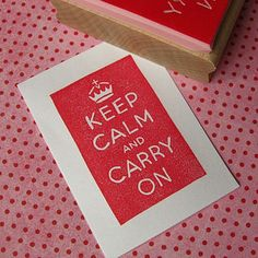 Keep Calm And Carry On Hand Carved Rubber Stamp by Skull and Cross Buns