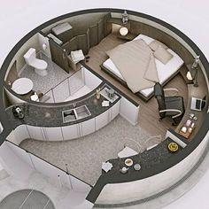 🇧🇷 Que tal uma casa redonda? 🤔/ 🇺🇲 How about a round house? 🤔/ 🇪🇸 ¿Qué tal una c… Tiny House Design, Modern House Design, Home Design, Design Art, Dorm Room Organization, Organization Ideas, Dome House, House Layouts, Dream Rooms