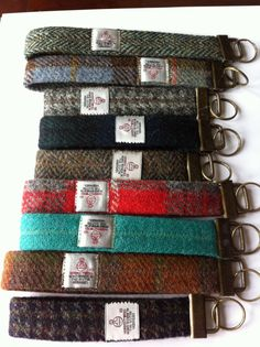 Harris tweed lanyard key chain key ring mans gift by Scotswhahae, $12.00