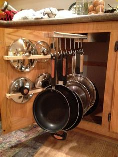DYI Sliding Pot Rack | Cabinet Storage Ideas | Pinterest | Pot ...