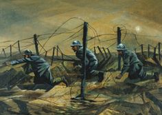 In the Trenches, 1917 (oil on canvas), C. R. W. Nevinson, (1889-1946) / Photo © Christie's Images
