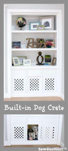Dog crate IN a built-in bookshelf.